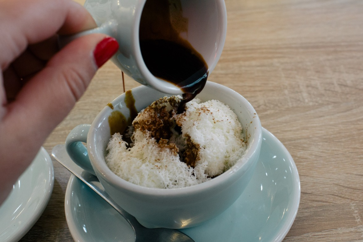 Snow ice affogato
